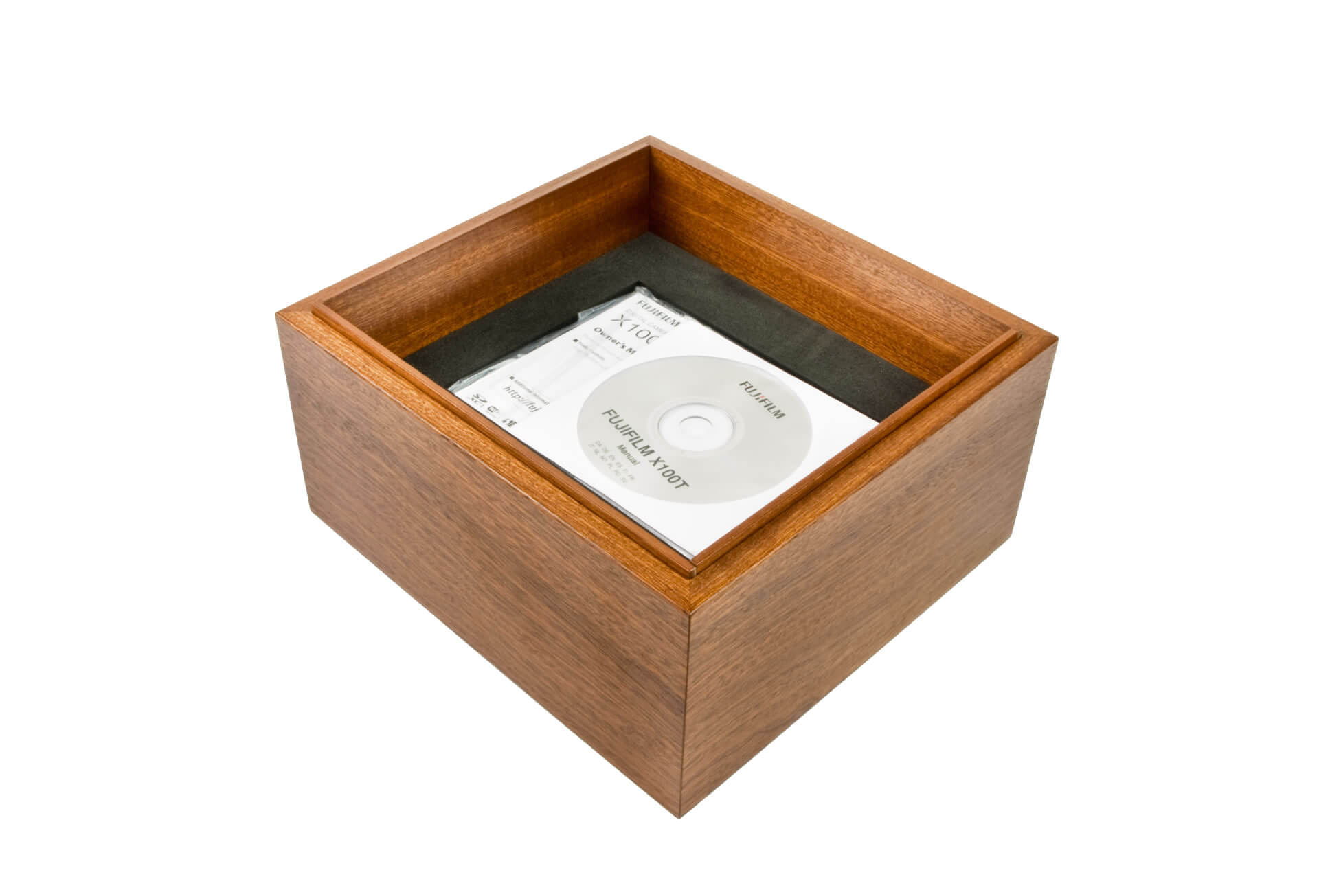 bespoke wooden packaging box lift off lid mahogany clear lacquer internal detail level 3