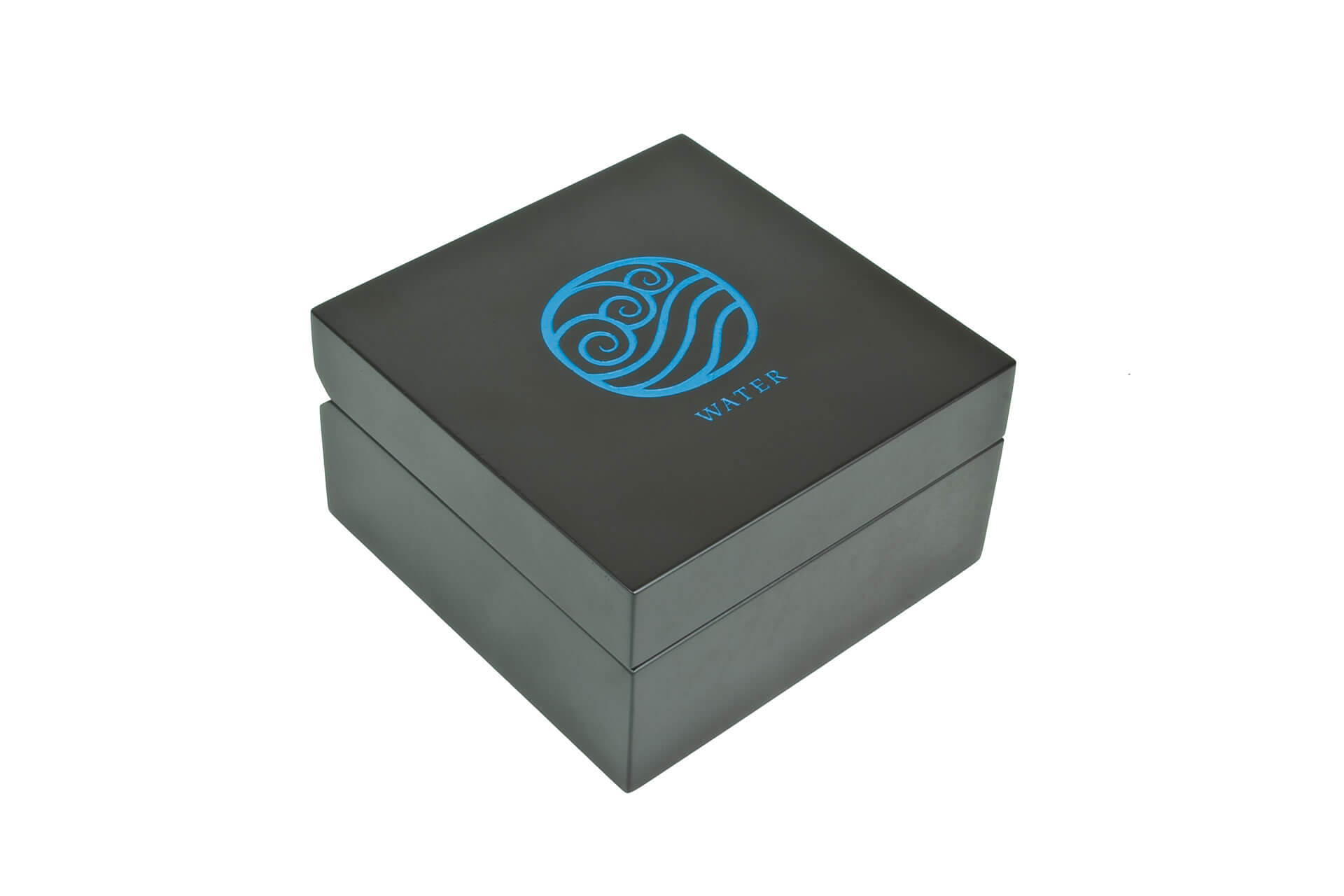 bespoke wooden car wax packaging laser engraved blue infill closed