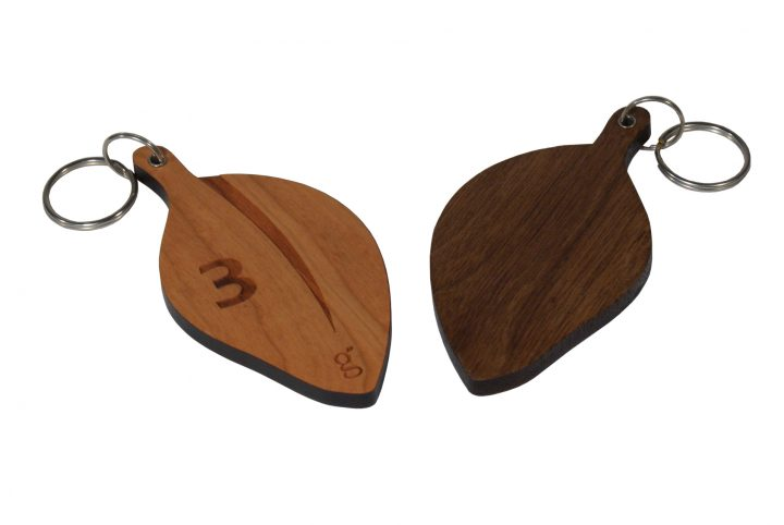 bespoke hand made customised wooden key rings for hotel guests