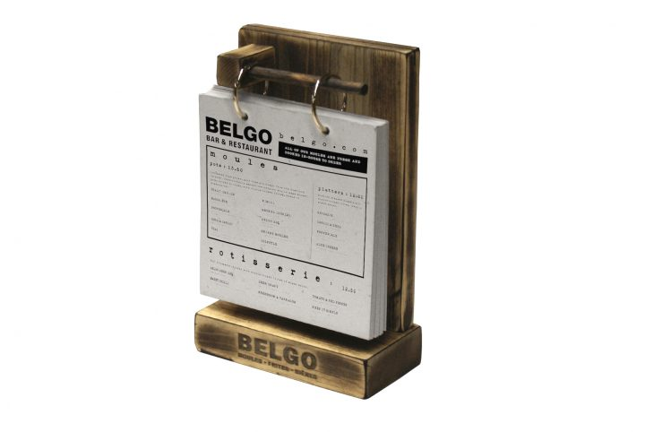bespoke wood table menu holder