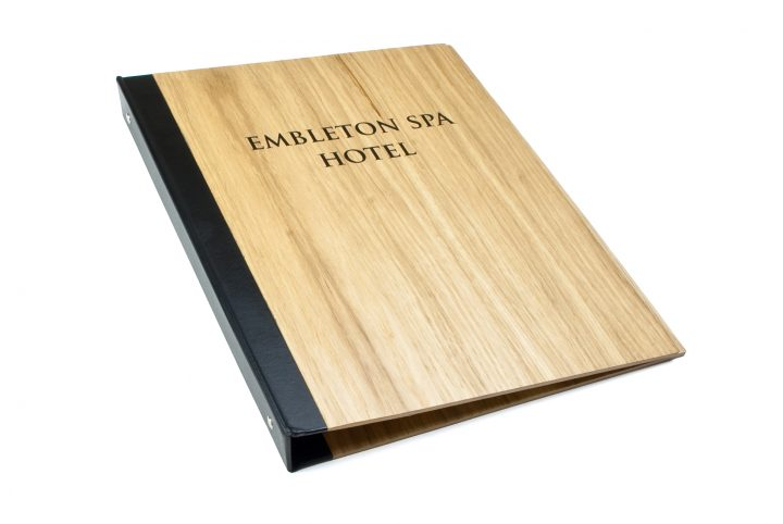 bespoke wooden hotel information folder hotels and spa