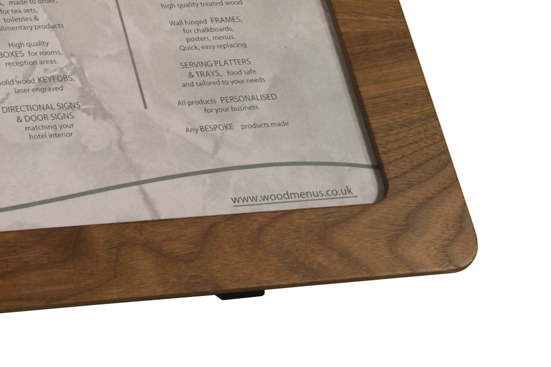 bespoke wooden poster frame for counter top free standing display