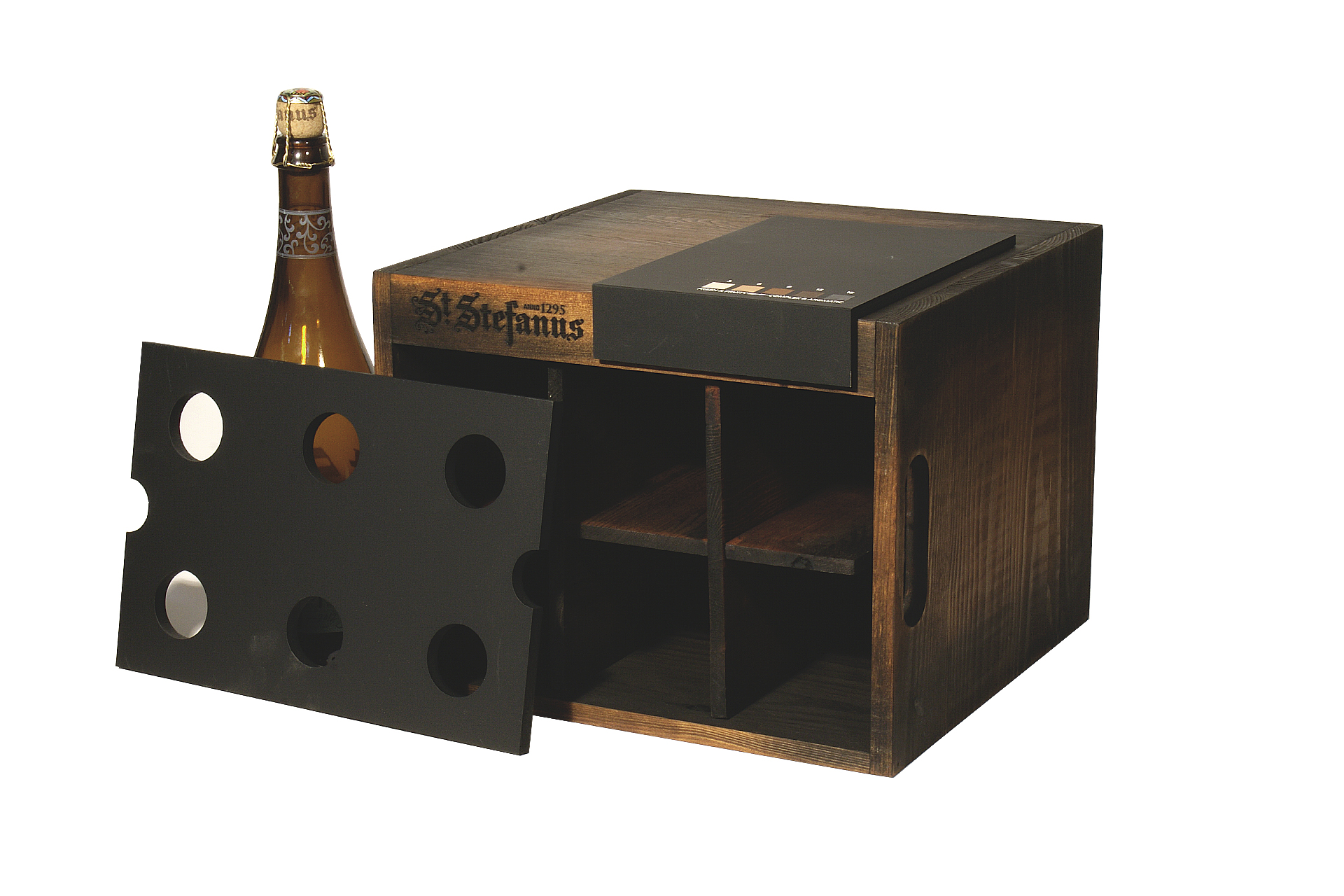 custom made crate in wooden aged finish for point of sale merchandising