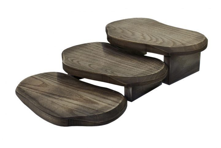 hand made wooden food serving boards tiered for restaurant fine dining