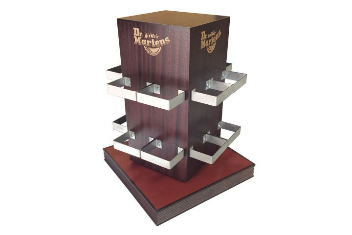 mixed media product stand rotating counter top display corporate branding