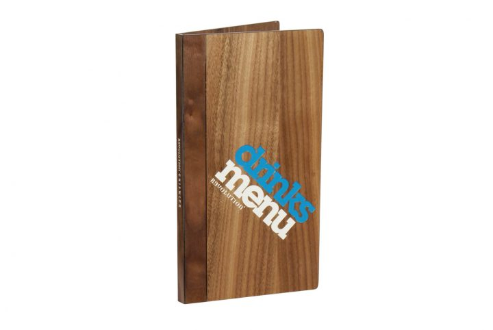 wooden menu cover for revolution bar chiswick h-mw103