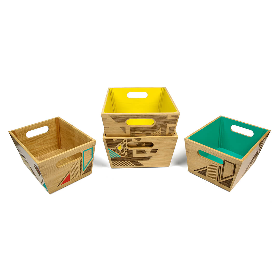 colourful serving crates with handles