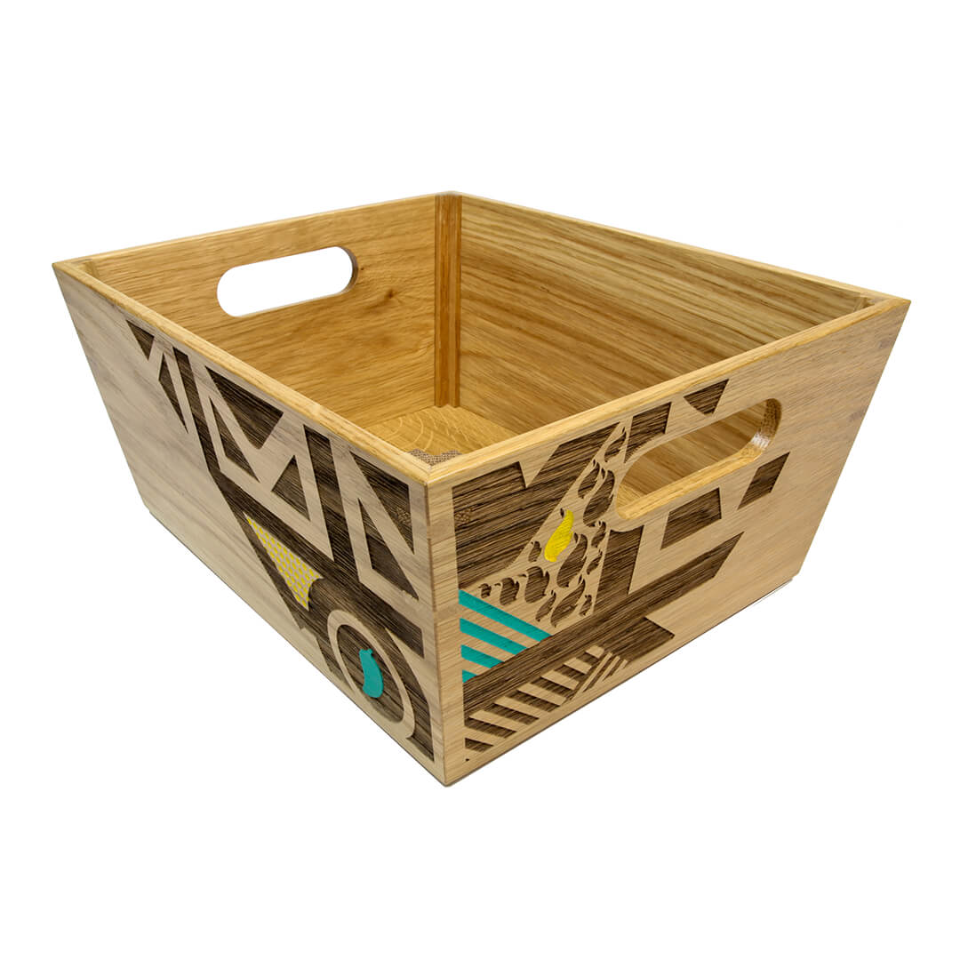 wooden serving crate for nandos