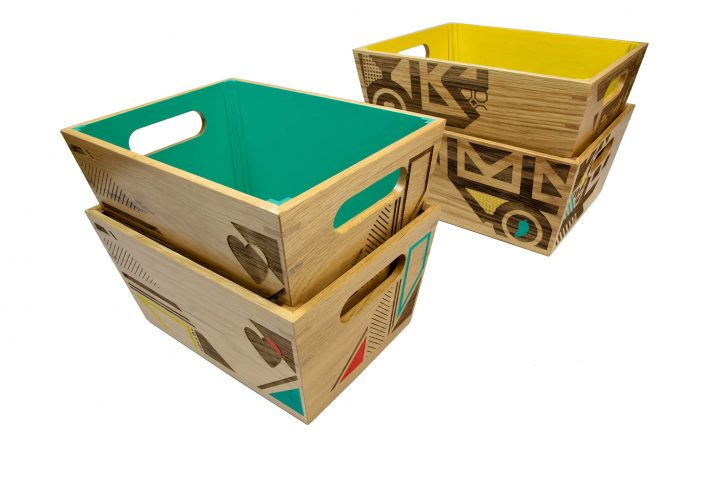 wooden serving crate with handles