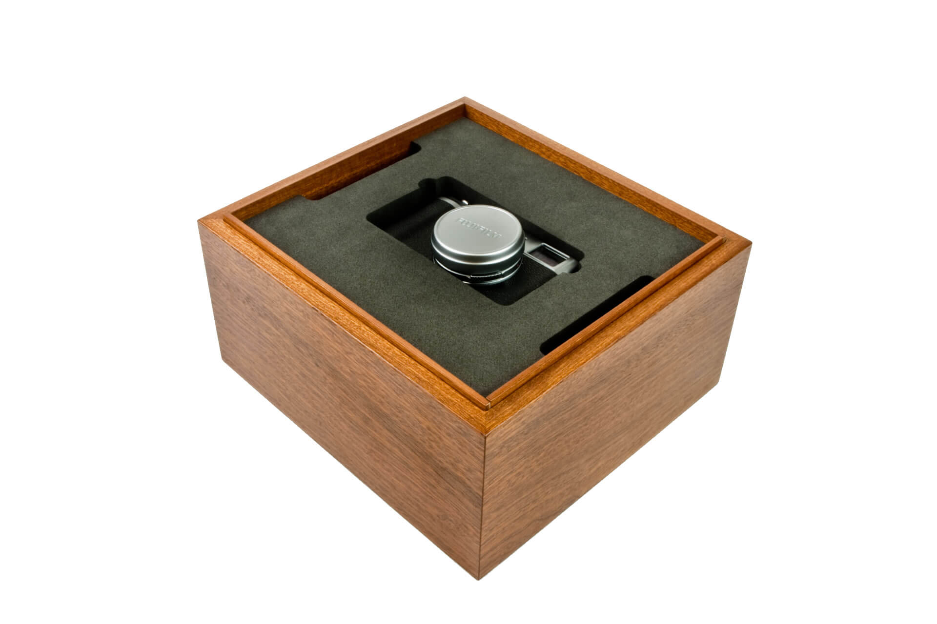 bespoke wooden packaging box lift off lid mahogany clear lacquer internal detail level 4