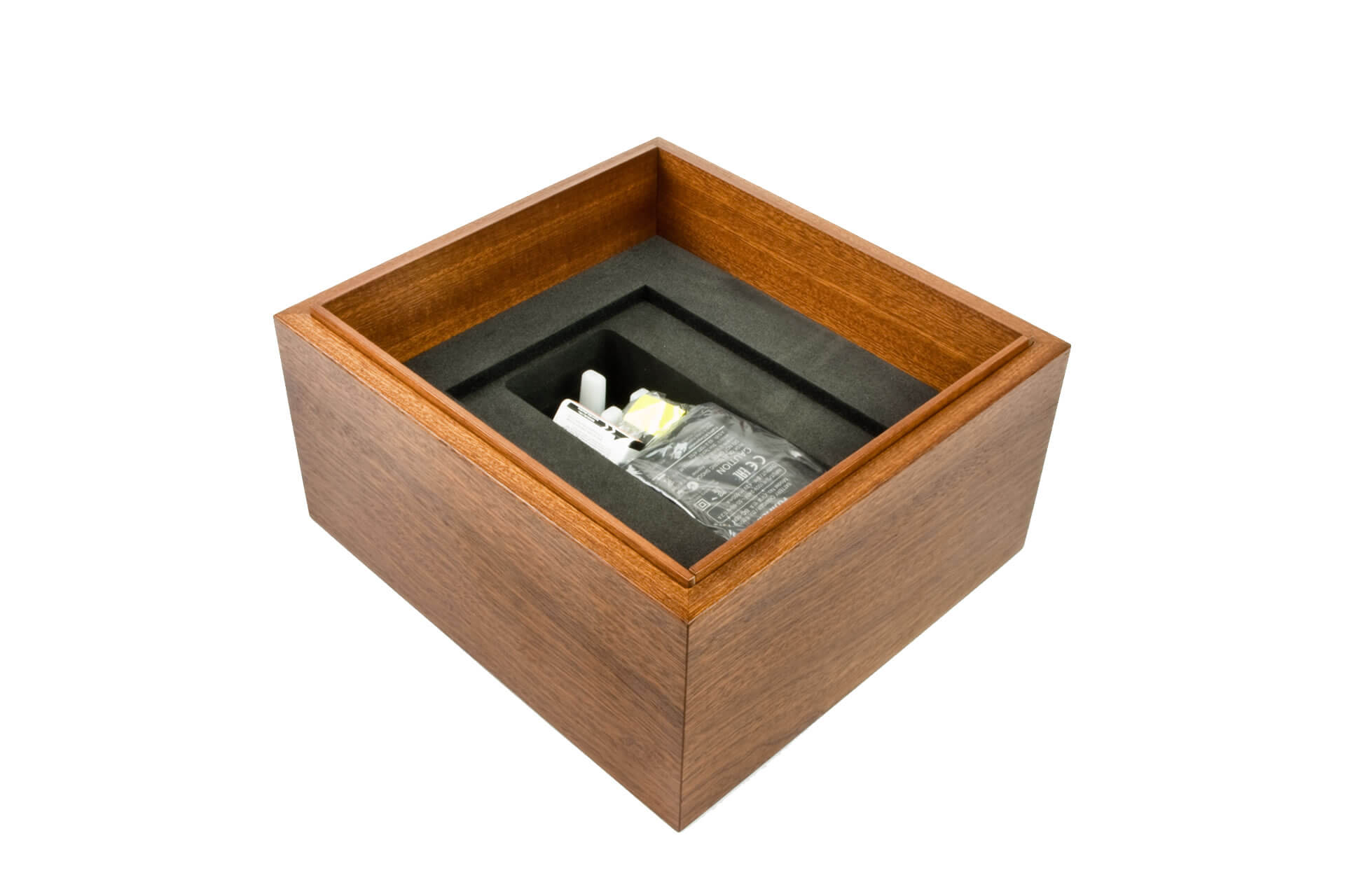 bespoke wooden packaging box lift off lid mahogany clear lacquer internal detail level 2