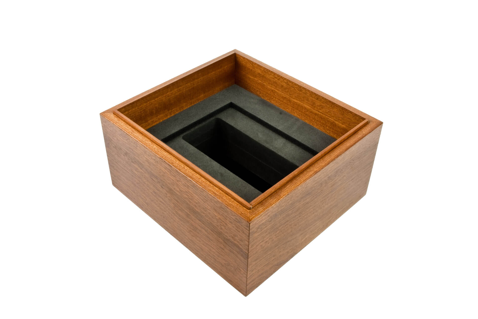 bespoke wooden packaging box lift off lid mahogany clear lacquer internal detail level 1