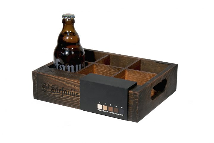 branded wood drinks display stand point of sale
