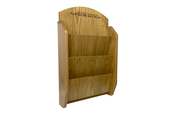 point of sale leaflet holder for shops retail and leisure hand made wooden wall stand