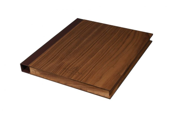 wood presentation folder for hotels leather spine custom made