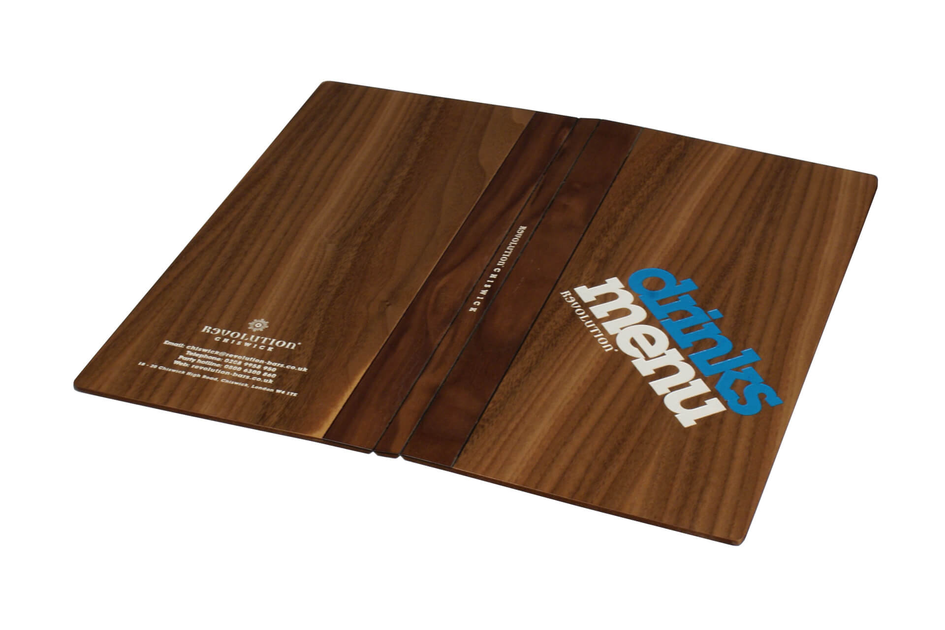 custom walnut menu cover with logo h-mw103