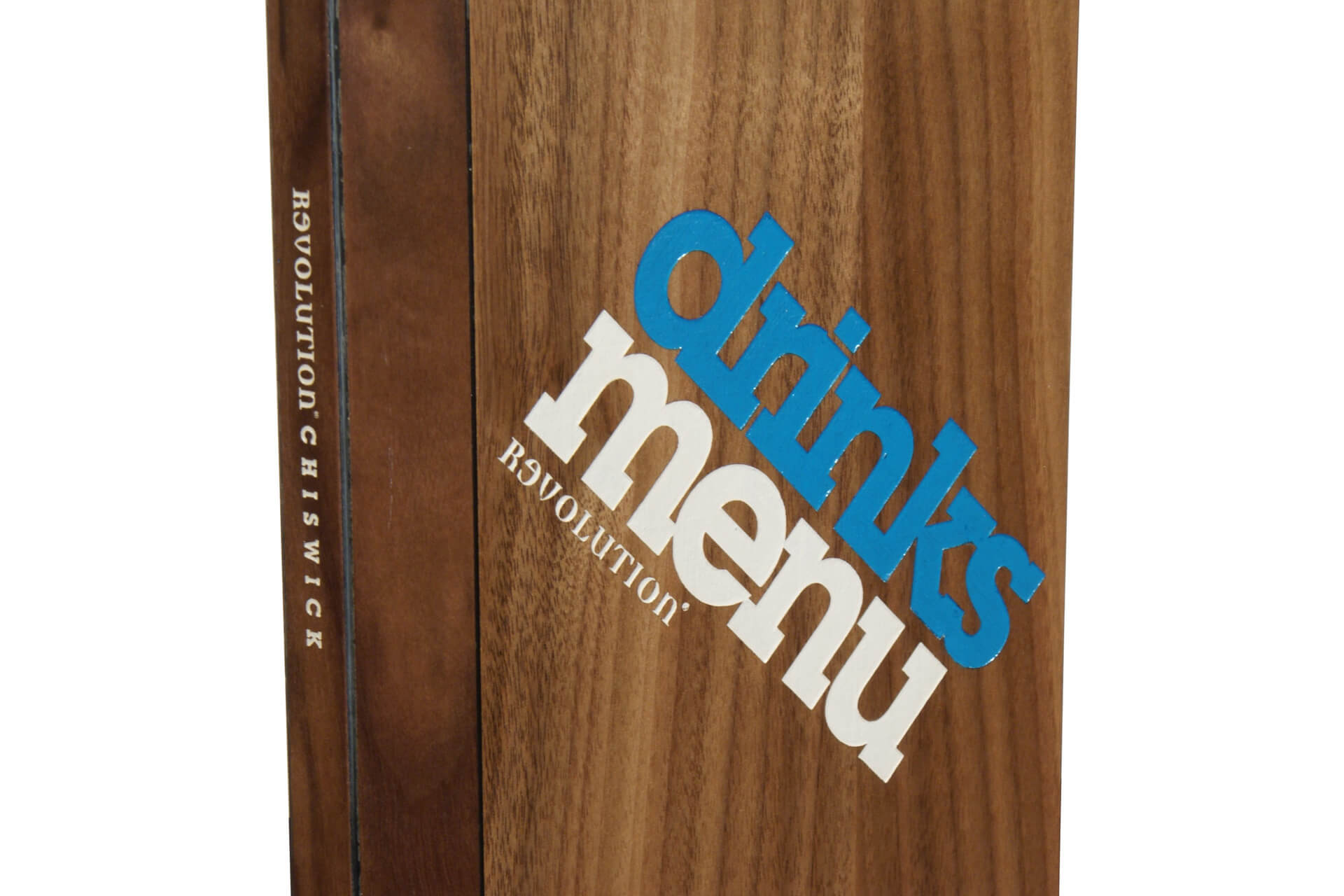 drinks wooden menu cover laser engraved branding h-mw103