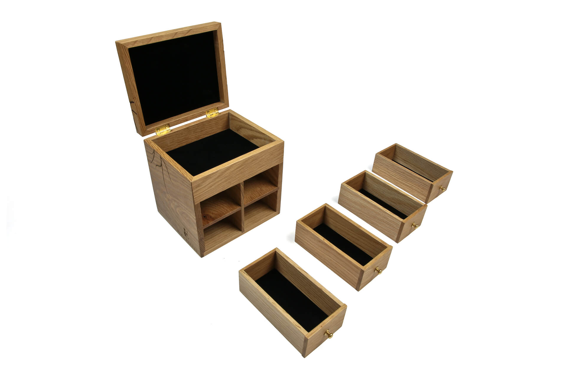 natural oak jewelry box design with laser engraving