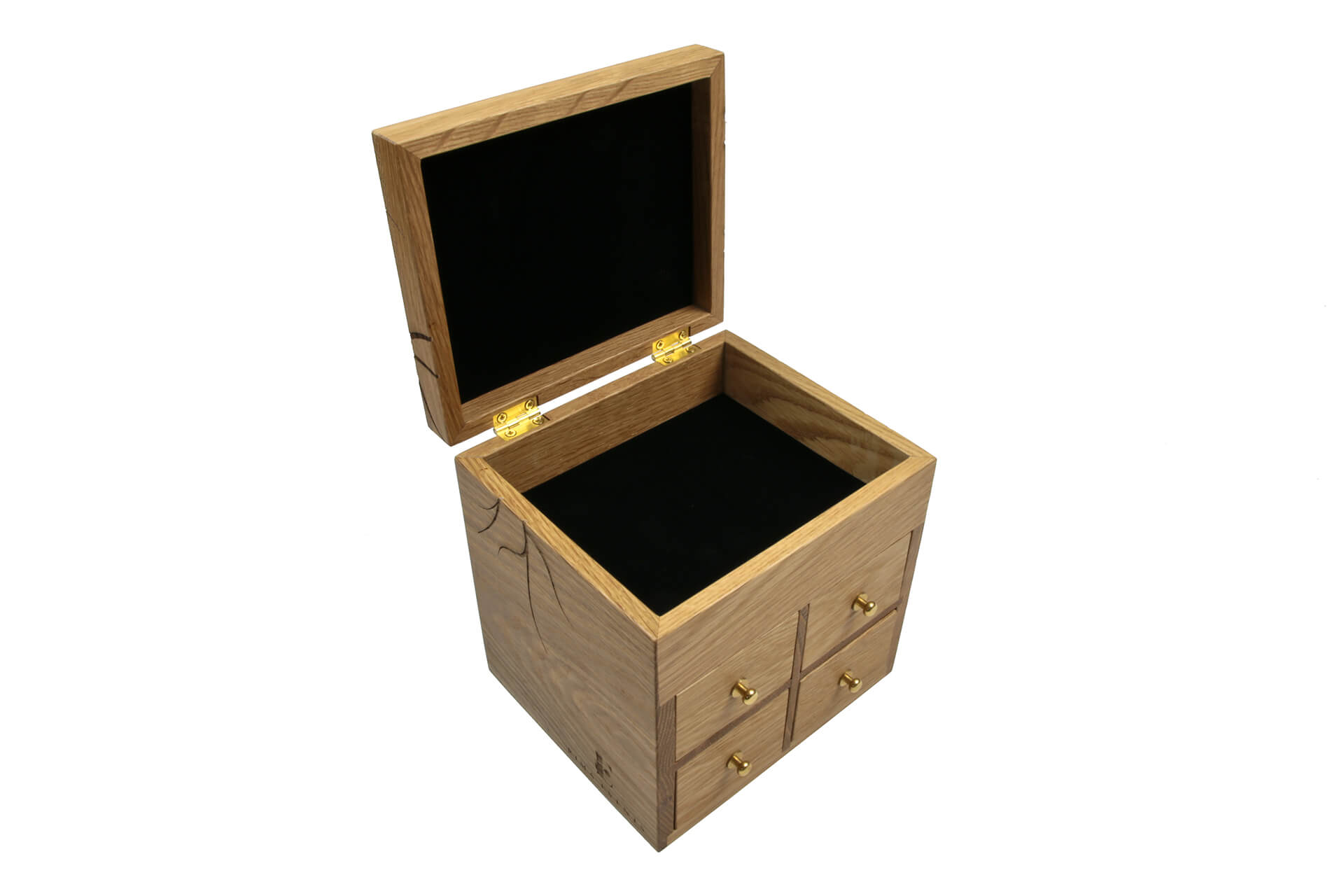 natural oak jewelry box with black suedel lining