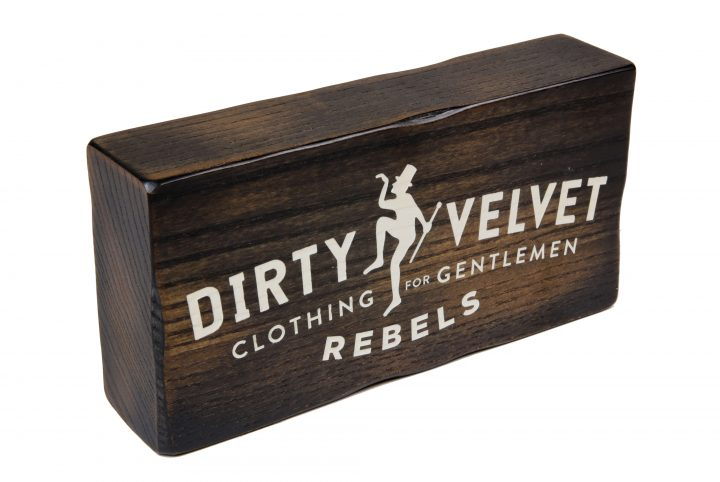 Dirty Velvet point of sale branding block MW1955
